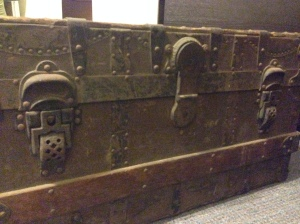 Steamer trunk by A.E. Meek Trunk and Bag Company.